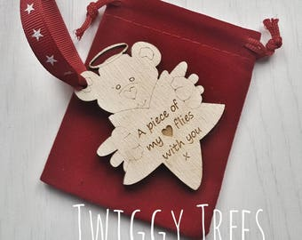 Mummy Daddy to an Angel Baby Gift  Infant loss Xmas tree decoration keyring. Sids. Gone too soon. rememberance wooden personalised engraved