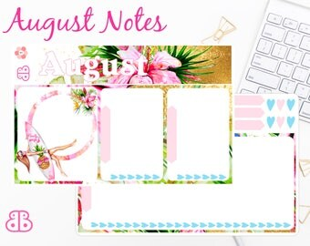 August Note Set | Planner Stickers