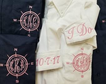 Nautical BRIDESMAIDS Oversized Monogrammed Button Down Shirts,monogrammed Oversized bridesmaids oxfords,Bridesmaids Buttondowns,BG