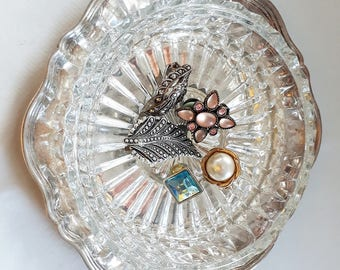 elegant french silver & crystal dish, french silver dish