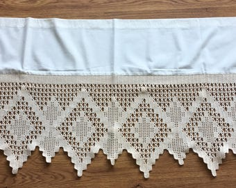 Vintage beige crocheted curtain coat /panel with bone white cotton fabric on the top from Sweden 1970s.