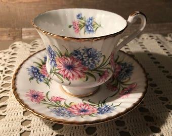 Paragon Tea Cup and Saucer Pink and Blue Mums