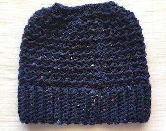 Navy Blue Messy Bun Beanie tweed crochet hat for women textured ponytail adult crochet hat