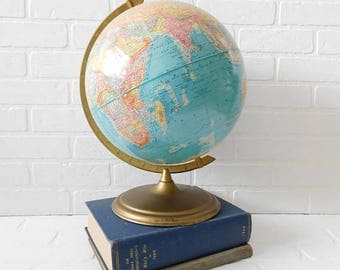 "20% OFF SALE - Vintage Cram's Globe 12"" Scope-O-Sphere World Globe, World Map, Office Decor, Textured Surface Globe"