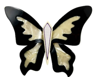Lea Stein Elfe The Butterfly Brooch Pin - Black, Pearly Creme