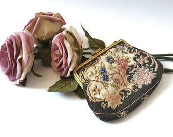 Vintage Hand Embroidered Cross Stitch Silk Gobelin Handbag ~ Petit Point FabricEvening Handbag