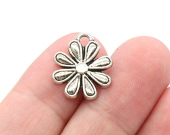 8 Pcs Flower Charms Antique Silver Tone 17x14mm - YD1704