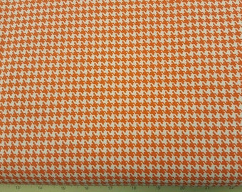 White and Orange Houndstooth Calico Cotton Fabric by the Yard