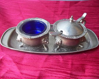 Rare Antique Open Salt Cellar & Mustard Pot With Tray Silverplated Lion Head Paw
