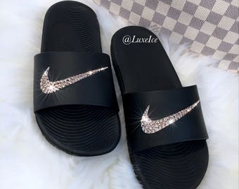 Nike KAWA Slides Black Flip Flops customized with Swarovski Crystals