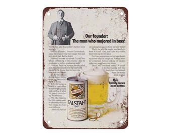 "1970 Falstaff Beer - Vintage Look Reproduction 9"" X 12"" Metal Sign"