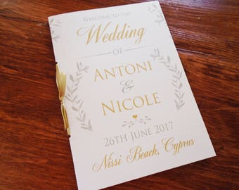 Olive Greenery wedding booklet speeches -order of service - wedding party- menu- thank you card- social media