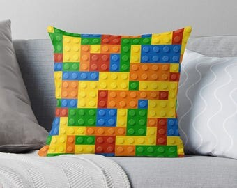 Lego Pillow | Lego Throw Pillow | Lego Gift | Cool Teen Gifts | Cool Gifts