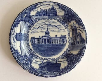 Antique Flow Blue Kingston Ontario Scenes Souvenir Plate Made in England Cobalt Blue on White