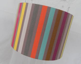Lamp shade drum stripes multicolored fine; the Basque country fabric