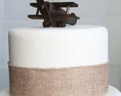 Private Listing: 2 ITEMS- Airplane Cake Topper, Old-fashioned, Vintage Look Wood Toy Plane, smash the cake