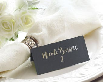 Black and Silver Foil Script Flat or Tented Handmade Wedding Place / Escort / Name Cards, Also Available in Rose Gold and Silver