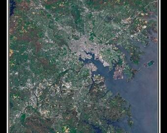 Baltimore Maryland Satellite Poster Map