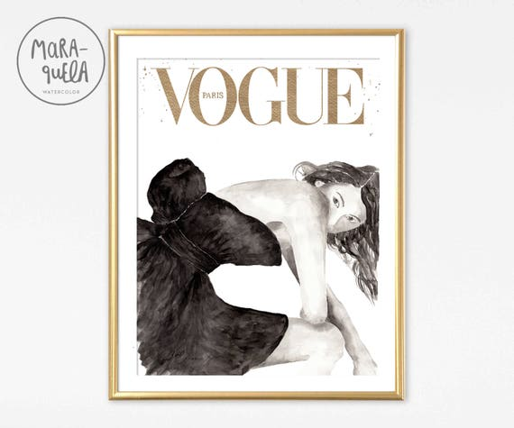 ORIGINAL watercolor inspired by Vogue Cover Paris, Sofia Coppola. Handmade.BLACK hues and GOLDEN color.