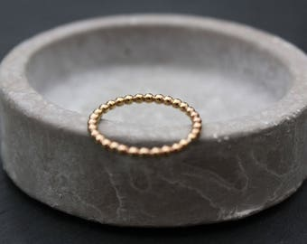 Beaded gold ring | 2mm Gold fill beaded style band | 2mm fine ring | handmade jewellery | contemporary minimal style | stacking