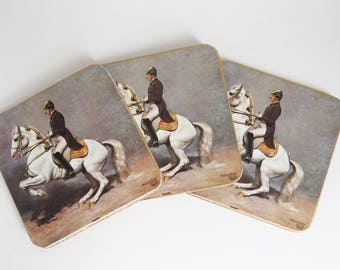 Vintage Coasters, Military Equestrian Coasters, Alexander Pock Military Artist, Set of 6 Coasters Cork Backing, Collectible Coasters in Box