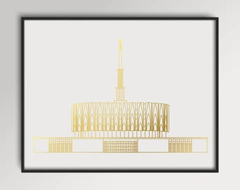 LDS Provo Utah Temple Gold Foil Print
