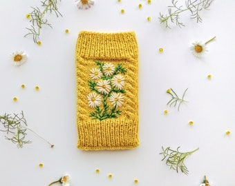 Hand Knit iPhone Pouch Embroidered With Daisies, Wool, Phone Case, Handmade Gift For Her, Apple iPhone 6, 6S,7,Samsung Galaxy S4, S5, S6, S7