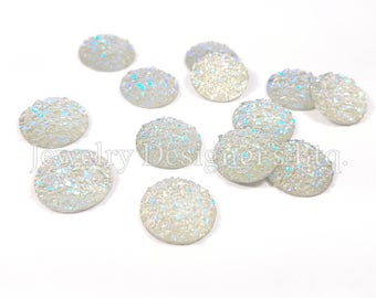10pcs, 14mm Iridescent Faux Druzy Cabochon, Glitter Resin Cabochons, Wholesale Jewelry Craft Supply Earring Findings, Aurora Borealis