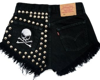 "BLACK SHORTS Levis 501 STUDDED High waisted patched round studs beads denim with distressed jean M size 30"" waist"
