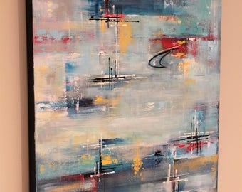 Mid-century modern art original mcm painting modern abstract