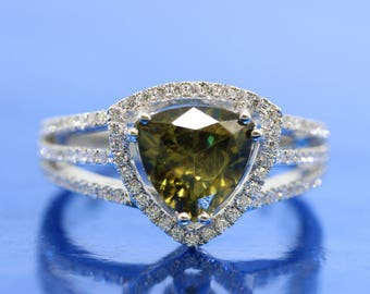 1.53ct Trillion Mali Green Garnet Engagement Ring With Triangular Halo of Diamonds.