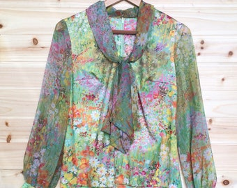 Vintage 70s Set, Blouse and Skirt: silky, floral, psychedelic, Monet inspired