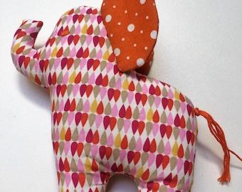 Jo the elephant, plush cotton fabric drops multicolored