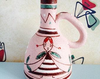 1950s, Pink, Italian, Illustrative, Ceramic Jug by Fratelli Fanciullacci