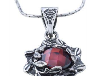 Silver Pendant, Garnet pendant, Gemstone pendant, Rock crystal, Sterling silver, handmade