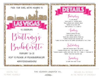 Las Vegas Bachelorette Party Glitter Invitation and Itinerary - LAS VEGAS Bachelorette Party - Printable Invitation