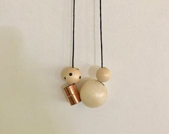 Wooden bead necklace • Copper and Natural raw beads