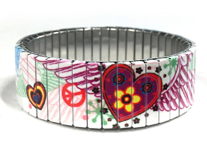 Winged hearth bracelet, Stainless Steel, Repurpose Watch Band, Stretch Bracelet, Wrist Band, Sublimation, gift for friends