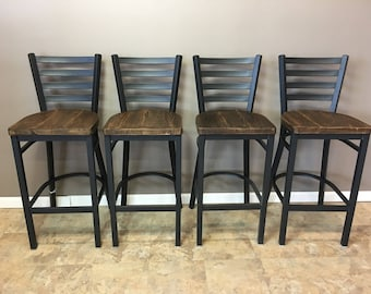 Reclaimed Bar Stool| Set of 2 | In  Black Metal Finish | Ladder Back Metal | Restaurant Grade -30 Inch High Barstool