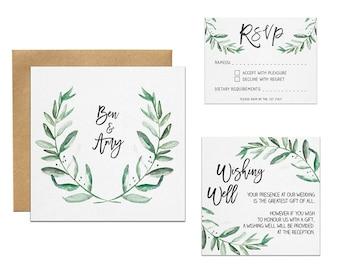 Foliage Wedding Invitation | Watercolour Greenery Invitation Set | Rustic Wedding Invitation Suite | Bridal Shower Invitation | Australia