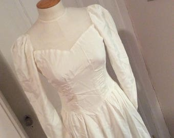 1940s, Vintage, Crisp, White Wedding, Bridal Gown