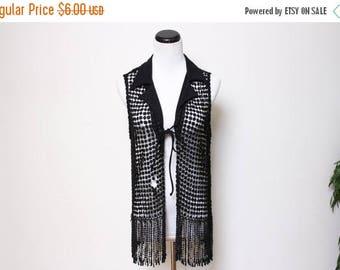 25% OFF VTG 90s Groovy Hippie Goth Fringe Crochet Vest S/M