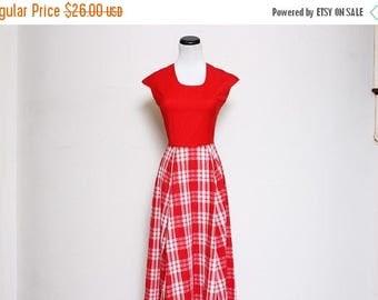 25% OFF VTG 50s Red Picnic Plaid Swing Rockabilly Dress XS