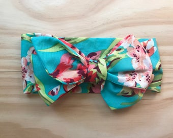 Head Bow, headwrap, big girl bow, topknot, floral, Amy Butler