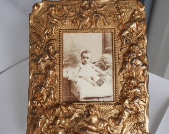 Antique French Gilded Photograph Frame,  French Frame with Cherubs or Angels, French Picture Frame, Vintage French Frame.