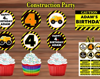 Construction Cupcake Toppers Party Favor PDF