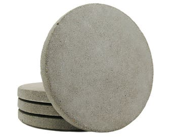 Concrete Home Decor, Concrete Coasters, Cement Coasters, Drink Coasters, Modern, Cool, Round, Stone, Simple, Geometric, Natural - Set of 4