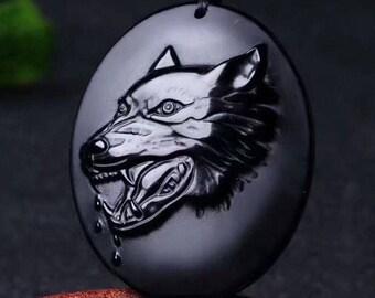 Beautifully Detailed Black Osbidian Werewolf Pendant