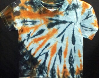 Hand Dyed Tie dye toddler 2T 3T t-shirt spiral in black and orange Hanes comfortsoft tagless brand