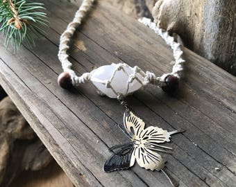 Butterfly necklace // Hemp necklace // Quartz necklace // Butterfly pendant // Nature // Insect